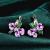 Elegant Sterling Silver Purple Flower Design Earring For Women