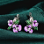 Elegant Sterling Silver Purple Flower Design Earring For Women